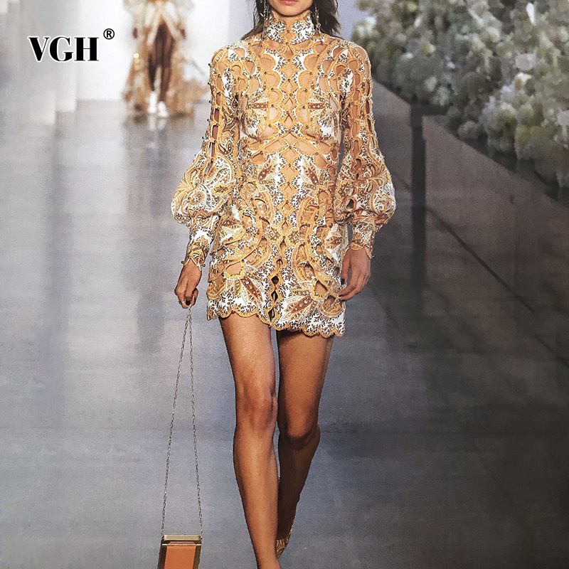 VGH Hollow Out Dress For Women Stand Collar Lantern Sleeve High Waist Heavy Beading Sexy Female Dresses Summer 2020 Fashion New