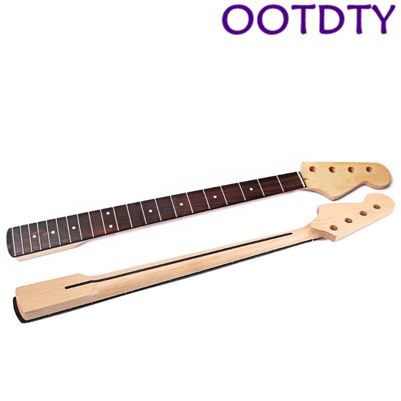 OOTDTY manche de guitare basse pour FD 4 cordes 21 frette main droite érable palissandre