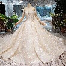 Robe de mariée vintage avec voile de mariage, manches longues, col rond, bouton au dos, robe couleur champagne, Simple, LS20479