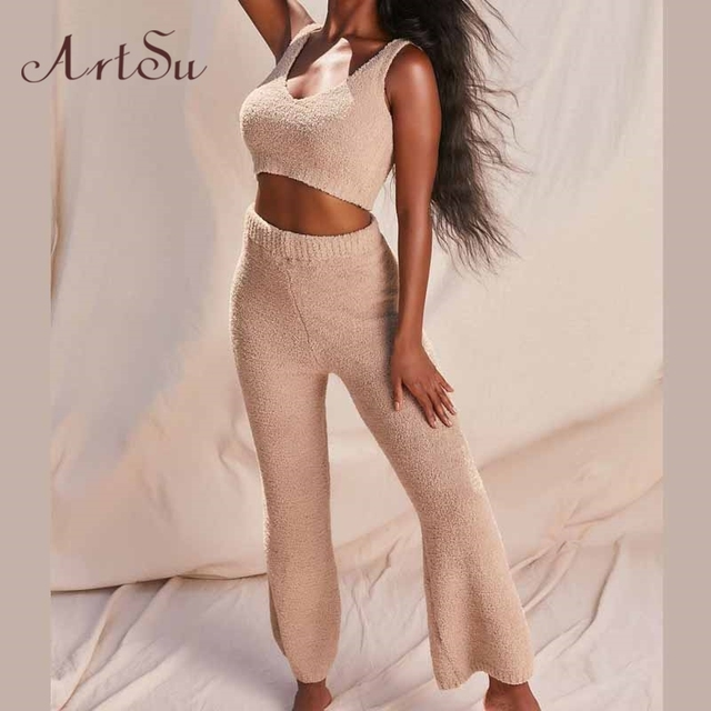 Artsu Winter Fur Two Piece Outfits Sexy Backless Crop Tops Women Outfits Matching Set Top and High Waist Pants Party Clubwear 2