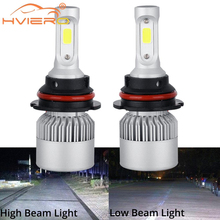 2X Car Headlight Fog Lighting 9007 HB5 Hi-Lo High Low Beam S2 COB IP67 Waterproof 6500K 72W 8000LM Auto Headlamp Led DC 12v 24V
