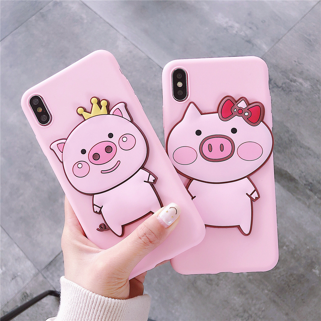 Cute Cartoon Crown Pig Case For Motorola Moto G7 Power G6 Plus G5S G5 E6 E5 E4 P40 Play One Vision Action Bowknot TPU Soft Cover