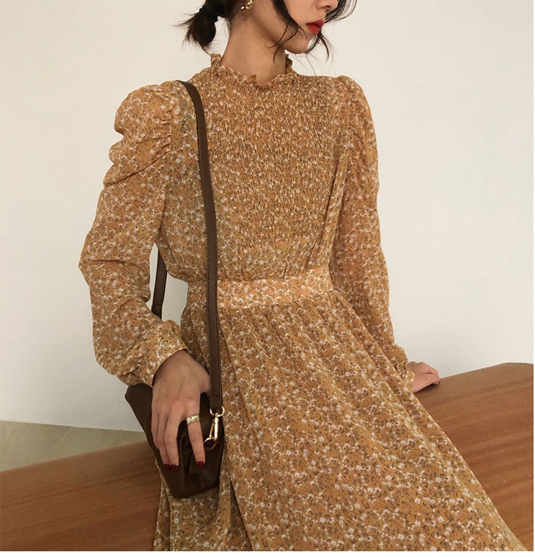 H316959390d17491884179ce8535ddc8fY - Autumn Stand Collar Long Sleeves Waist-Controlled Floral Print Maxi Dress