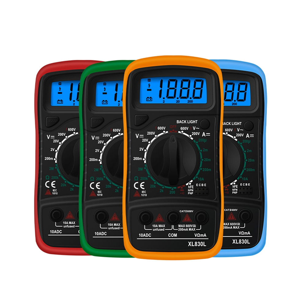 XL830L Handheld Digital Multimeter LCD Backlight Portable AC/DC Ammeter Voltmeter Ohm