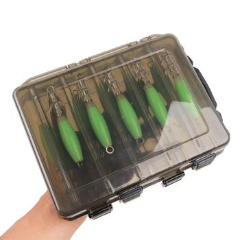 Super 10pcs/box Squid bait hook Wooden luminous Shrimp Fishing Lures Fishhooks Brand Name: easy catch