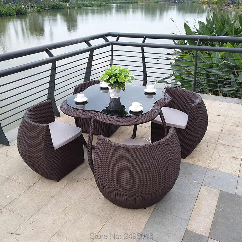 5 Pcs Outdoor Patio Furniture Chair Set Metal Frame Dining Table Set For Garden All Weather Rattan Wicker Dining Set Garden Furniture Sets Aliexpress