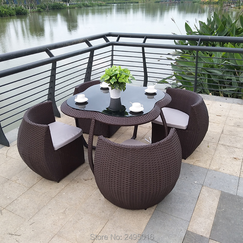 5 Pcs Outdoor Patio Furniture Chair Set , Metal Frame Dining Table Set For Garden All-weather ,rattan Wicker Dining Set