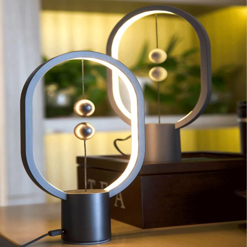 Creative Magnetic Balance Table Lamp Morden Led Bedroom Bedside Light Intelligent Decoration of Living Room Ellipse Table Lights