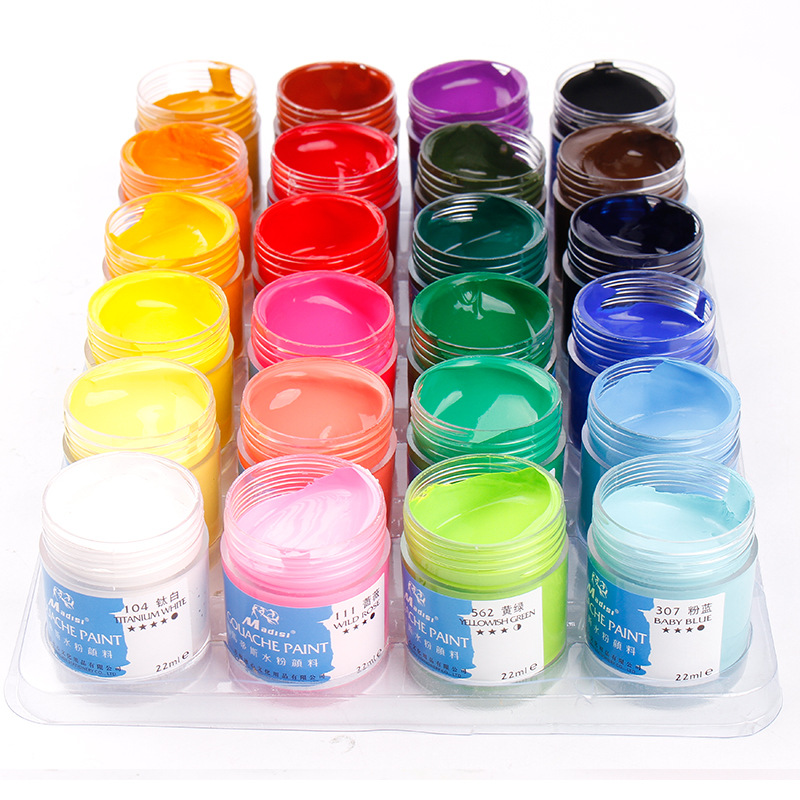 Degummed Gouache Paint Set 24 Colors Gouache Set Design Painting Examination Gouache Paint Pigment