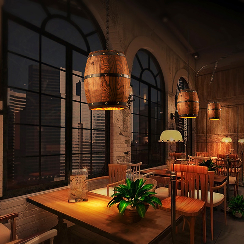 Retro Wood Wine Barrel Hanging Fixture Pendant Lighting Suitable For Bar Cafe Lights Ceiling Atomasphere Restaurant Barrel Lamp