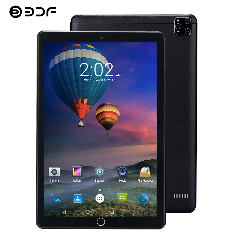 BDF Newest 10 Inch Tablet Android 7.0 3G/4G LTE 1280*800 IPS Octa Core 4GB/64GB Wifi Bluetooth Phone Call Glass Screen Tablet Pc