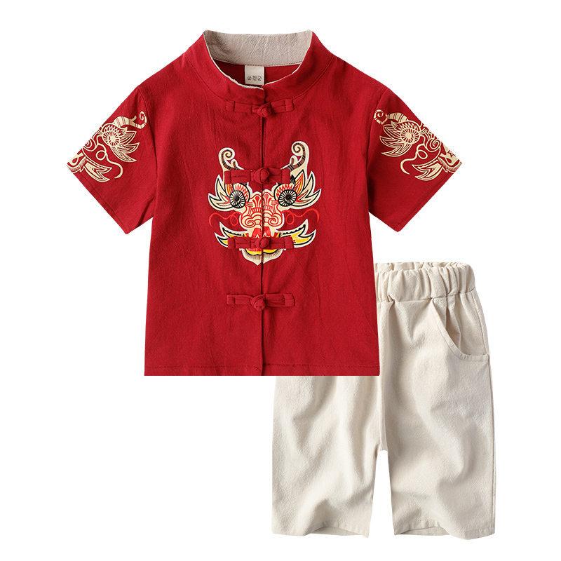 2019 Chinese Traditional Suit Annual Dragon Printing Martial Arts Sets Clothing For Girl Boy Wushu Kung Fu Uniform Kids Children
