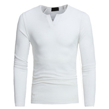 Helisopus Men V-neck Sweaters Long Sleeve Pullover Stretch S