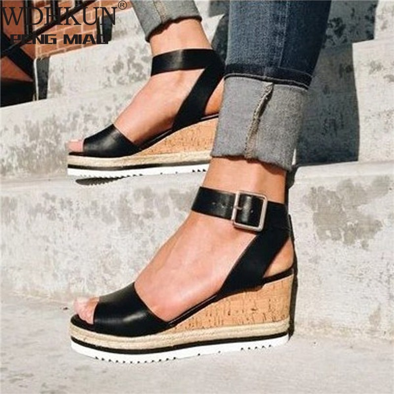 Retro Womens Fashion Open Toe Ankle Platform Wedges Shoes Ladies Roman Sandals Buty Damskie Wedges Shoes Mujer 2020