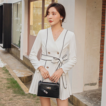YIGELILA Long Sleeves Elegant Autumn Dress A-line Double-breasted with Belt Office Lady V-neck Above Knee Mini 65181