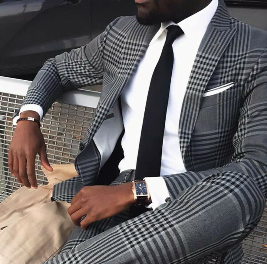 2020 New Grey Mens Vintage Plaid Suits British Style Slim Notch Lapel Two Piece Polyester+Cotton Groom Party Tuxedos