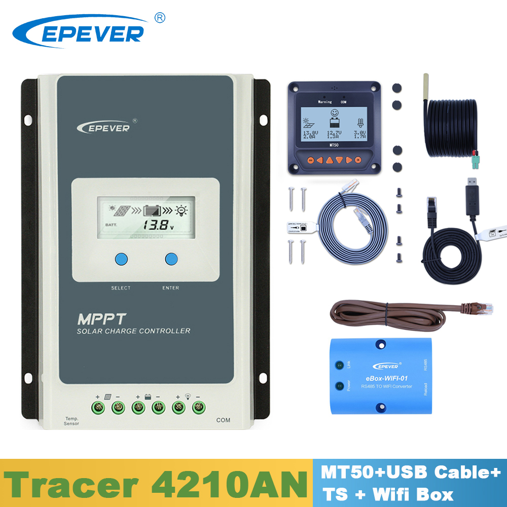 Epever tracer4210an 솔라 컨트롤러 40a 12v24v mppt 레귤레이터, mt50 디스플레이/usb 케이블/온도 센서/wifi 박스 포함