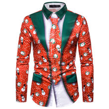 2019 Autumn Winter Shirt Men Fake Two Pieces Casual Snowflakes Printed Christmas Shirt Top Blusas Male Chemise Homme Noel(China)