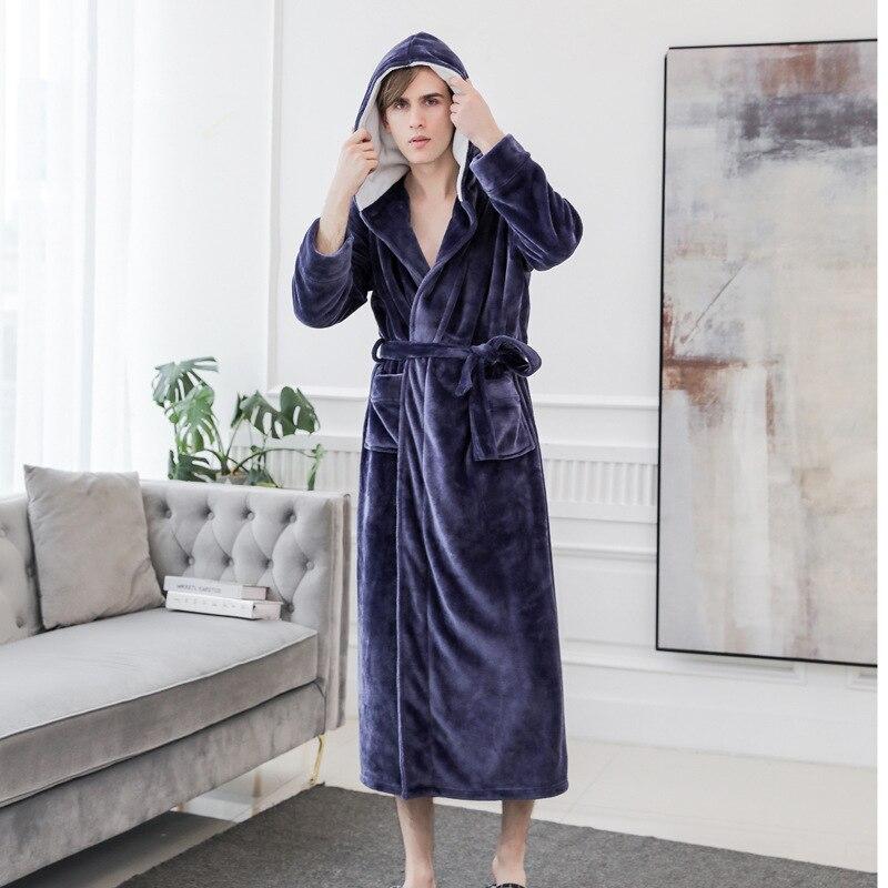 Casual Full Bathrobe Gown Men Warm Soft Flannel Sleepwear Nightwear Elegant Solid Homewear Pajama With Hooded Kimono Robe Gown