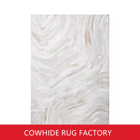Nordic Style Real Leather Grey Cowhide Patchwork Rug