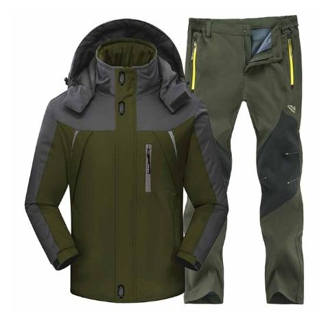 Men Winter Waterproof Fishing Skiing Warm Softshell Fleece Hiking Jackets Male Outdoor Trekking Pant Camping Jacket Set 4XL Suit