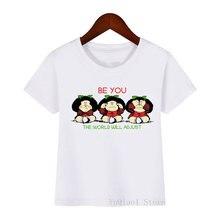 Забавная футболка mafalda с мультяшным принтом для девочек детская