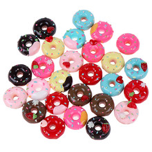 10Pcs 1:12 Doll house miniature candy donut bread doll house kitchen decor Mixed Resin Candy Donut Beads(China)