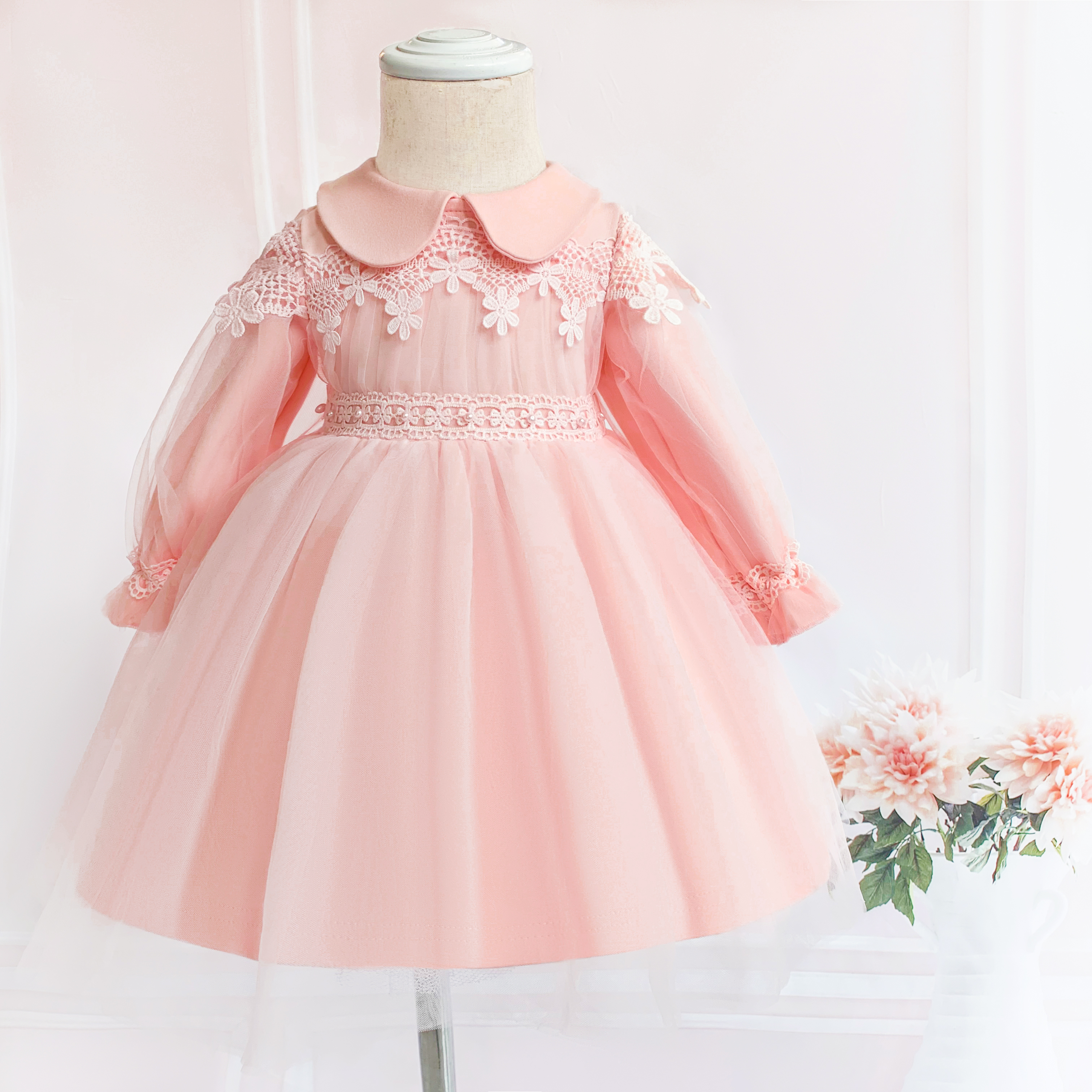 US $5.5 5% OFFPink Lace Baby Christening Dress Long Sleeve 5st Birthday  Girl Party Princess Prom Dress Infant Girl Baptism Baby Dress
