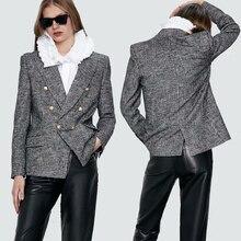 Spring 2020 Houndstooth Women's ZA Blazer Tweed Suit Collar Long Sleeve Casual P