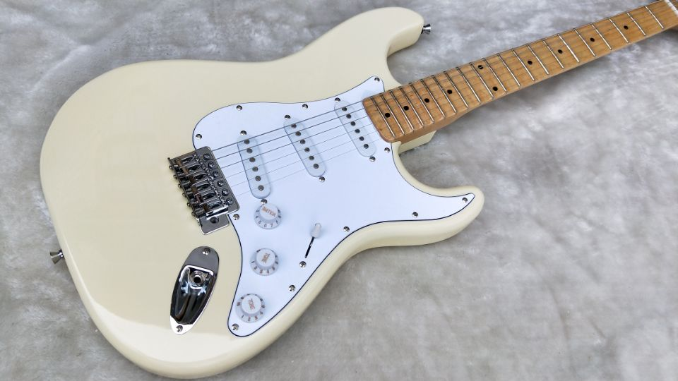 Top Quality FPST-1021 Cream White Color Solid Body White Pickguard Maple Fretboard  Electric Guitar, Free Shipping