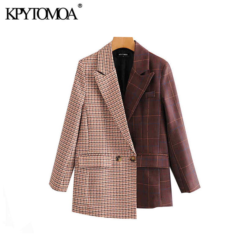 Vintage Stylish Patchwork Plaid Irregular Blazer Coat Women 2020 Fashion Notched Collar Long Sleeve Female Outerwear Chic Tops