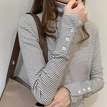 Women  Autumn And Winter New Black White Striped T-shirt Turtleneck Long Sleeve Tee Top
