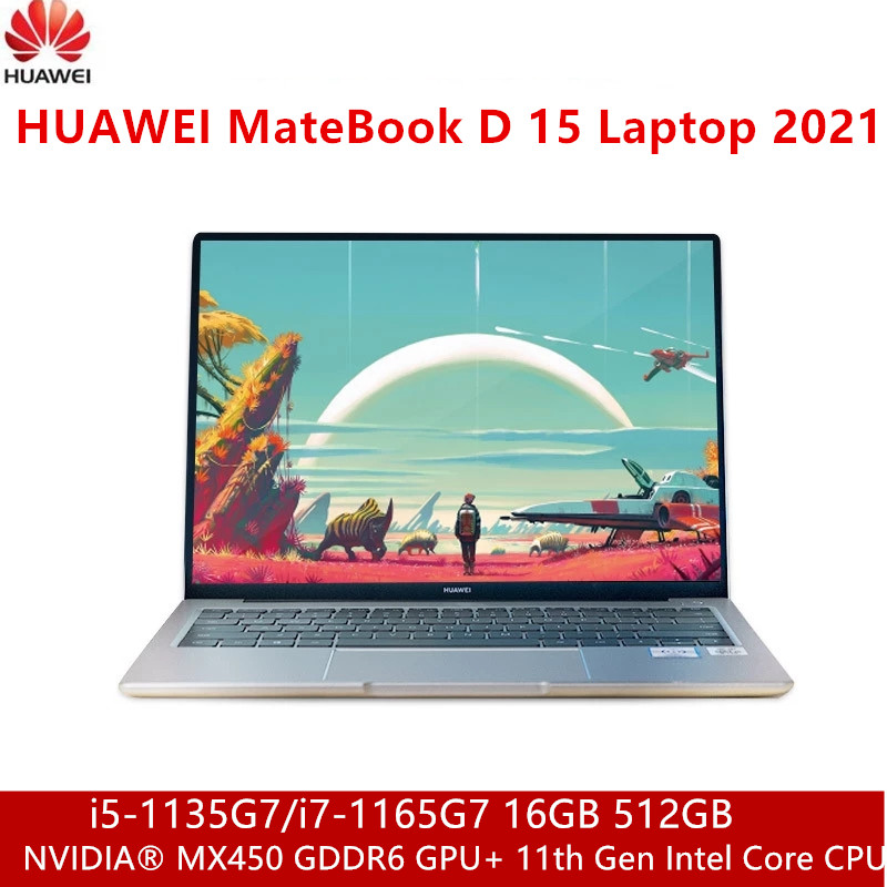 Ноутбук HUAWEI MateBook D 15, 2021 дюйма, FHD, 15,6 дюйма, GeForce MX450 GPU или Intel Iris Xe GPU i7-1165G7 WiFi 6 Type-C HDMI
