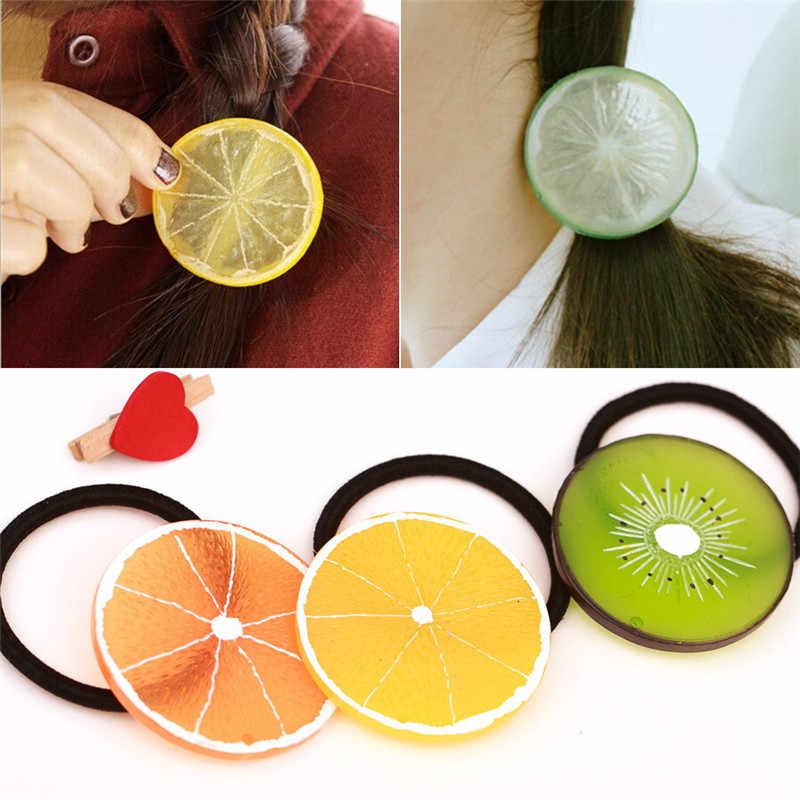 ใหม่แฟชั่นผู้หญิงวงกลมน่ารักจำลองผลไม้ Hairband Apple สตรอเบอร์รี่มะนาวผู้ถือหางม้าสาวแหวนผม