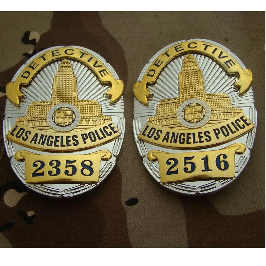Placa de Metal de la Policía de Los Ángeles, insignias de policía para colección, 2358x2516 cm, 8,2, 5,8