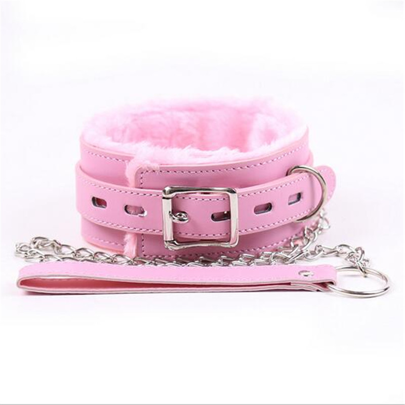 Adult Games Pink Leather Soft Fluff Neck Collar Flirt Erotic Toys Bondage Sex Role-play BDSM Sex Products Sex Toys For Couples