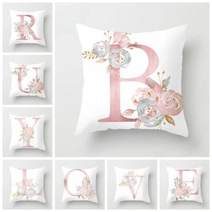 RUBYLOVE Pink Letter Decorative Pillow Cushion Covers Pillowcase Cushions for Sofa Polyester Pillowcover cuscini decorative(China)