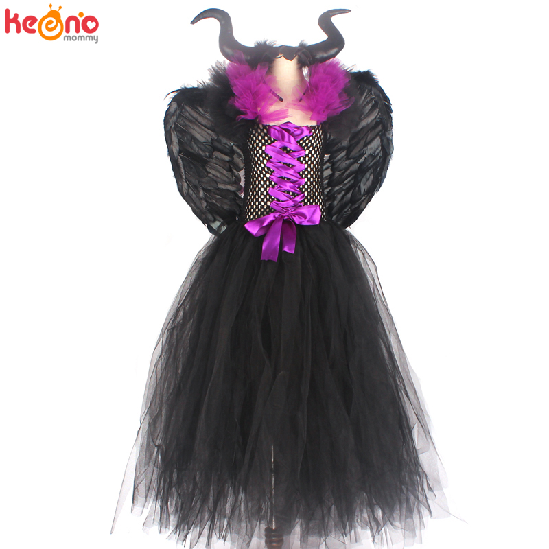 Maleficent Black Gown Tutu Dress with Deluxe Horns and Wings Girls Villain Fancy Dress Kids Halloween Cosplay Witch Costume 6
