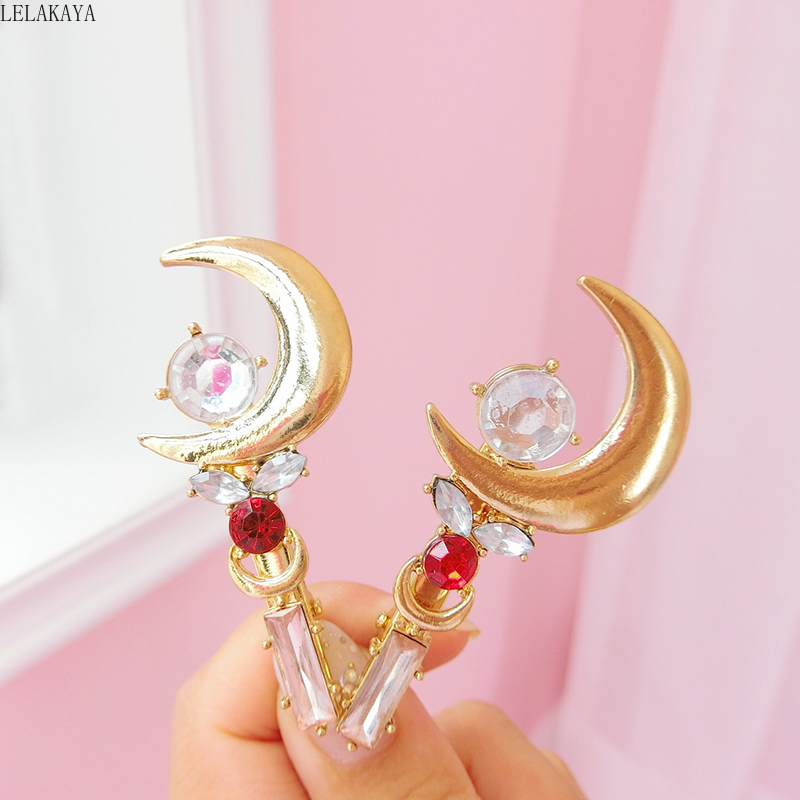 Japan Anime Sailor Moon Stick Hairclip Hairpin Hair Accessories Barrettes Action Figure Pink Rhinestone Hair Clip Pins Jewelry