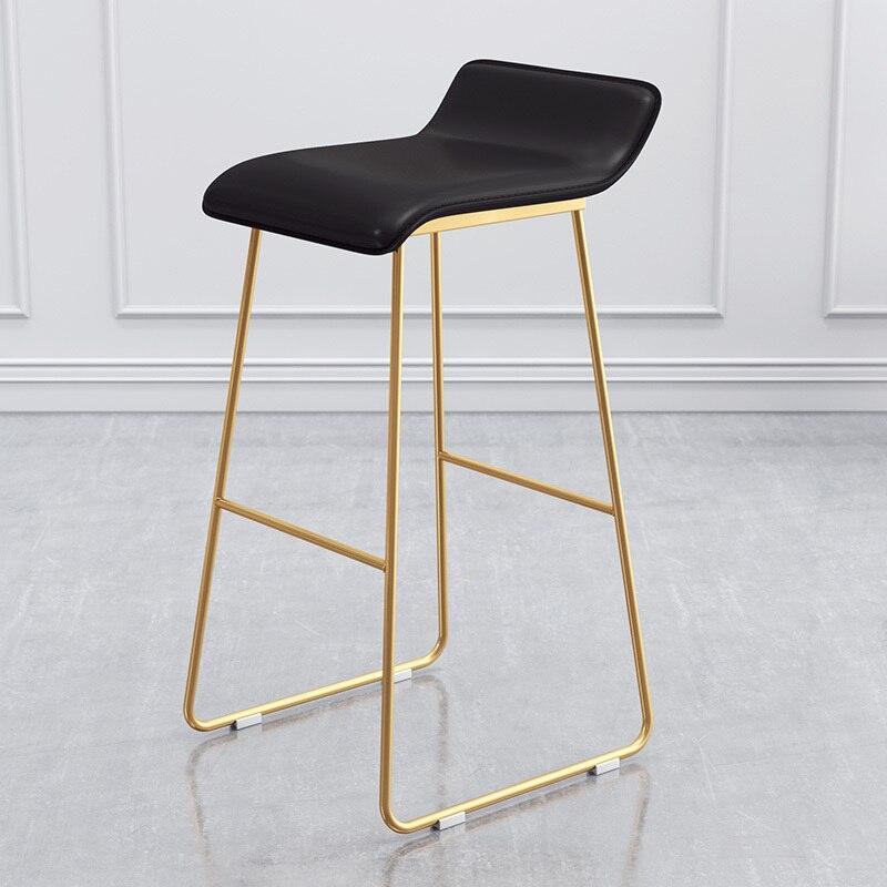Nordic Bar Chair Coffee Milk Tea Lounge  Simple  Stool Designer Wrought Iron Gold High  Padded