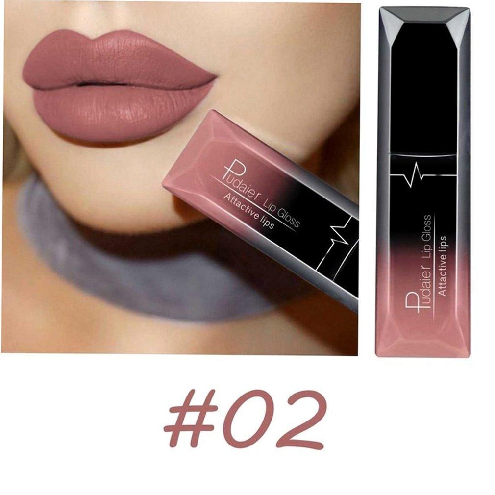 Pudaier Long Lasting Liquid Lipstick Soft Matte Velvet Lip Gloss Non Stick Cup Lip Makeup Lip Lipstick Cosmetic For Women