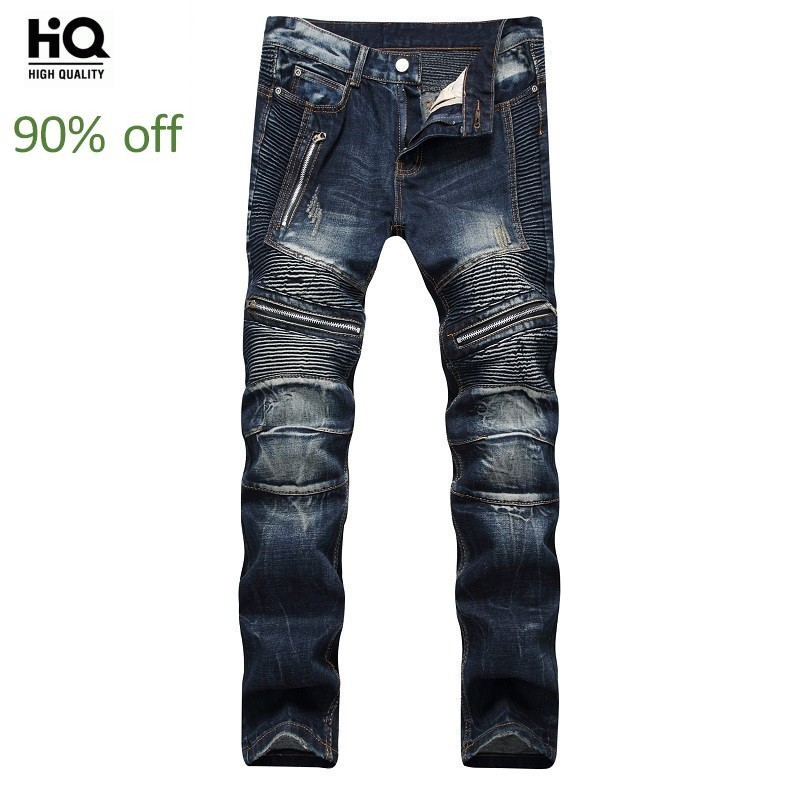New Arrival Mens Classic Jeans Hole Pleated Zipper Jeans Pants Slim Straight Biker Trousers Men Streetwear Blue Denim Overalls