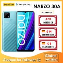 Realme narzo 30a versão global smartphone 4gb 64gb helio g85 6.5 Polegada fullscreen 13mp ai câmera dupla 6000mah 18w carga rápida