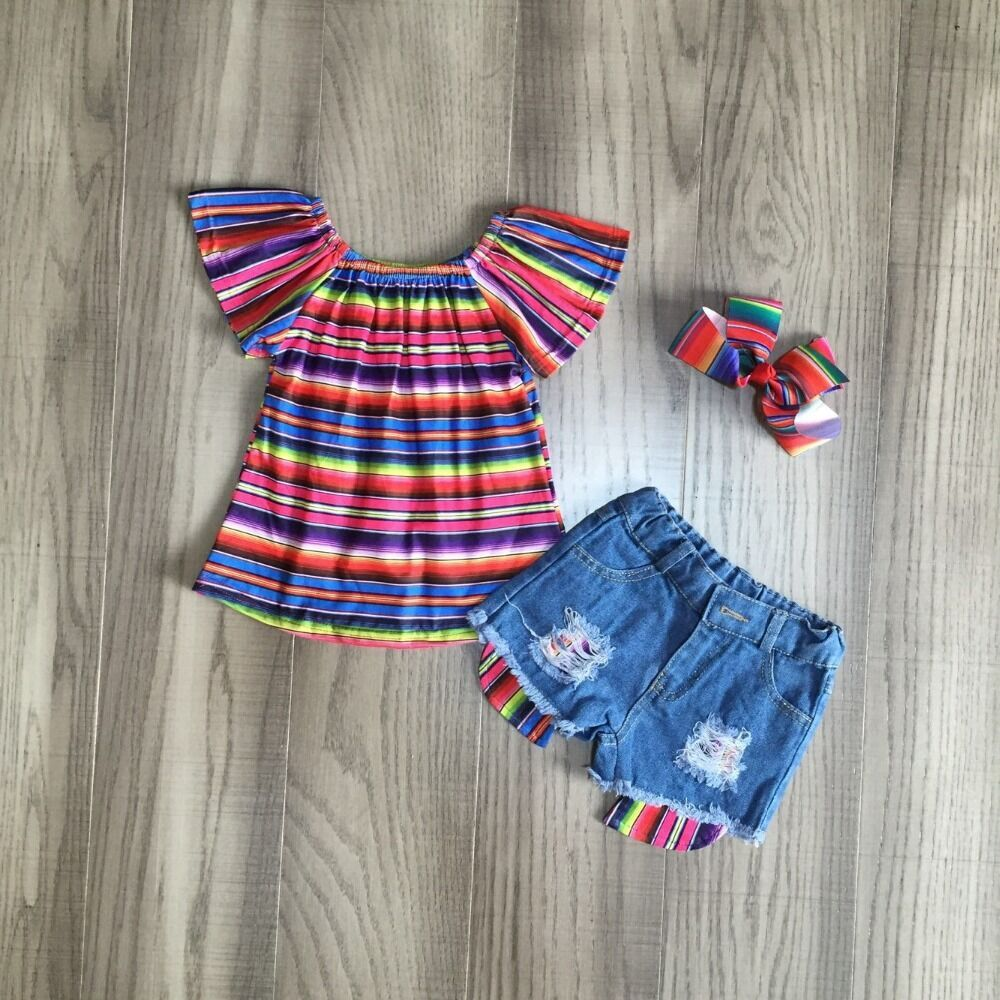Baby Girls Clothes Girls Summer Outfits Girl Multicolor Stripe Shirt Jeans Shorts Children Clothing With Bow