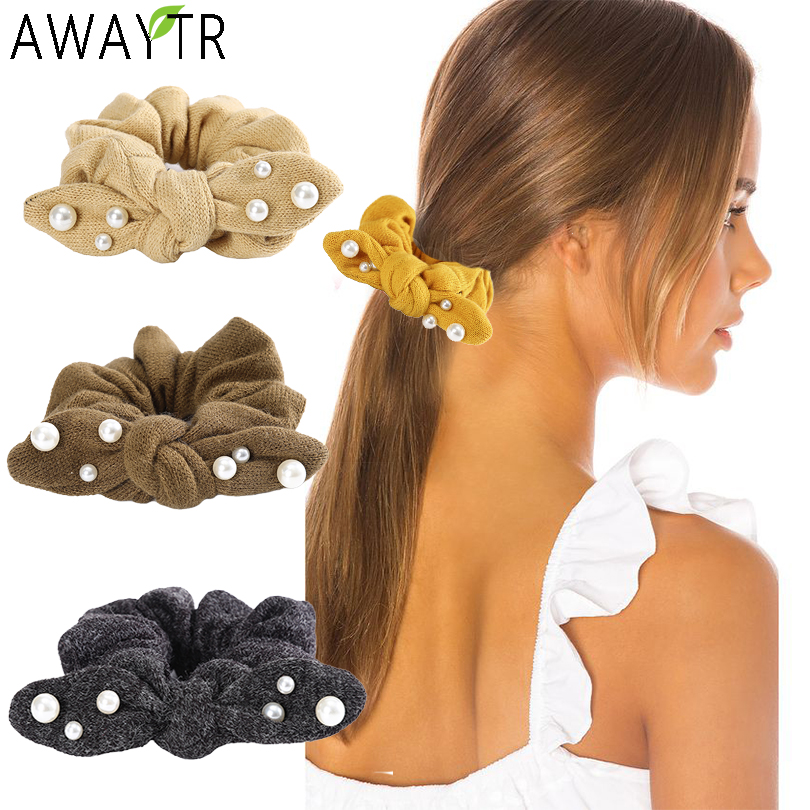AWAYTR Rabbit Ears Pearl Scrunchies Hair Ropes Fashion Hair Ties Rubber Women Ponytail Holder Large Intestine Hair Accessories