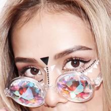 Claro óculos redondos caleidoscópio óculos de cristal lente festa rave festival música óculos de sol presentes amigo