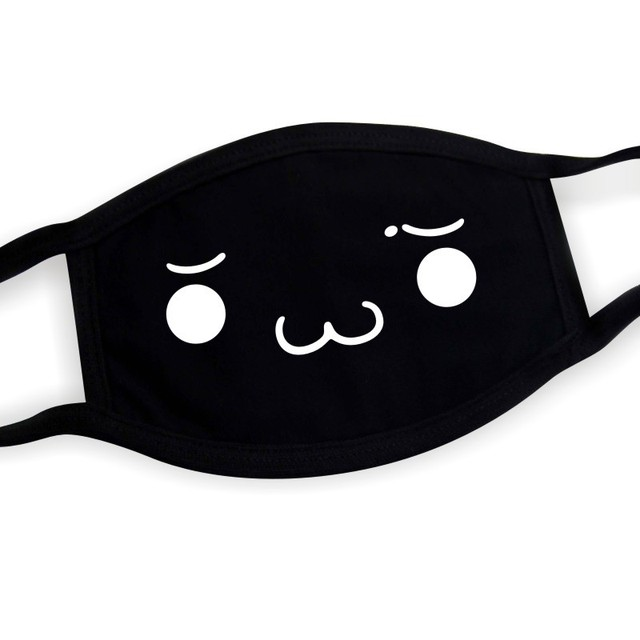 Black Unisex Cartoon Cat Funny Expression Face Mask Cotton Breathable Mouth Mask Anti-dust Pollution Masks Woman Man Reusable 3