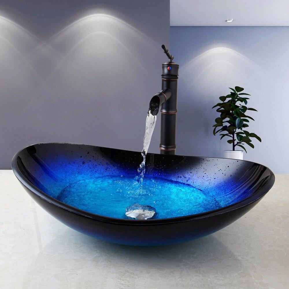 Robinet d'évier de salle de bain robinet de vidange Combo ensemble mélangeur robinets ovales salle de bain bassin de ruisseau bec cascade robinet mitigeur chaud et froid
