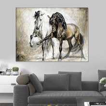 Wall Canvas Painting Horse-Poster Print-Decoration Livingroom Abstract Animal Chinese