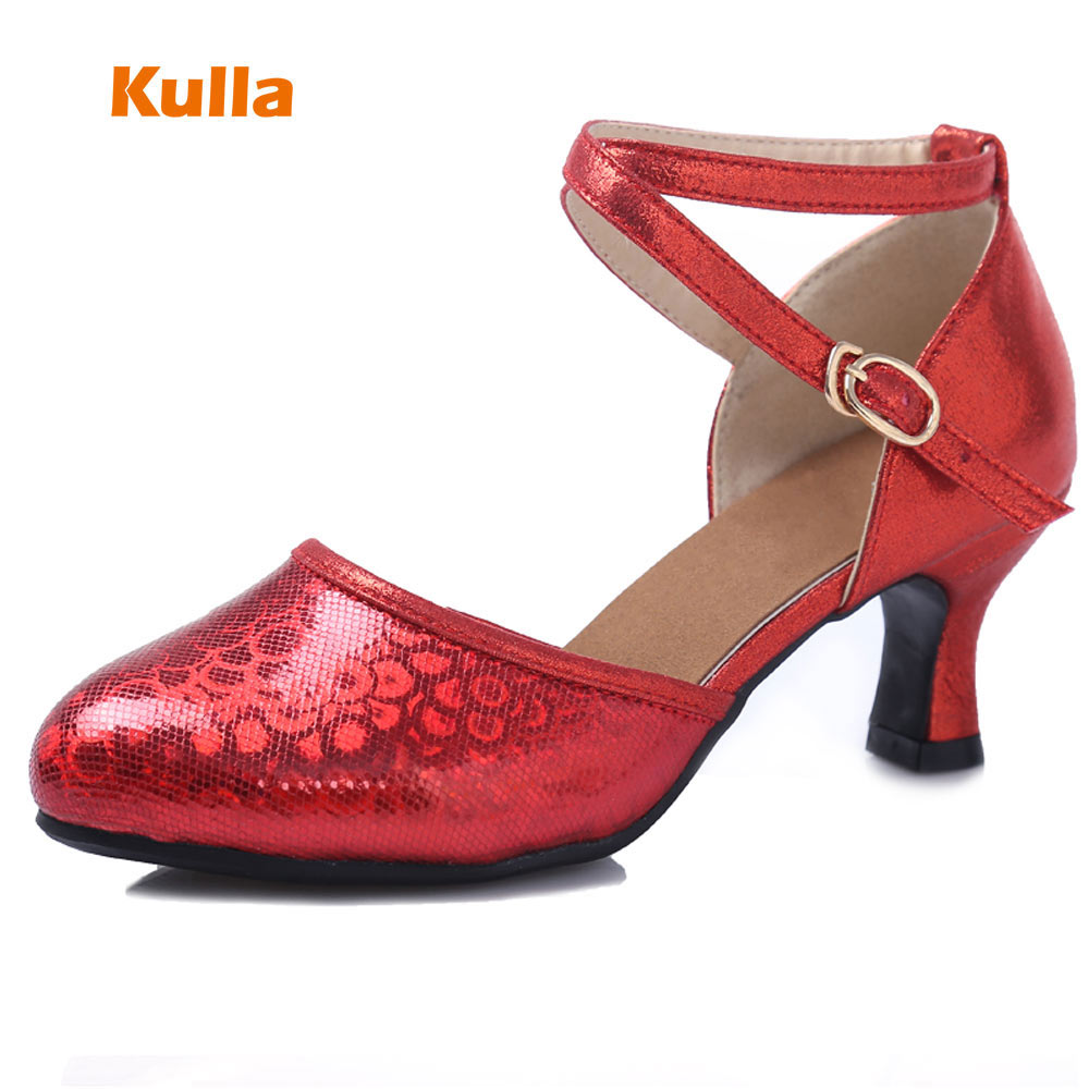 New Arrival Women Latin Tango Salsa Dance Shoes Soft Rubber Sole Ladies Ballroom Dancing Shoes Close Toe Size 34-41 Heels 6cm